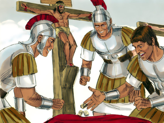 Resultado de imaxes para romanos se juegan a los dados la tunica de jesus